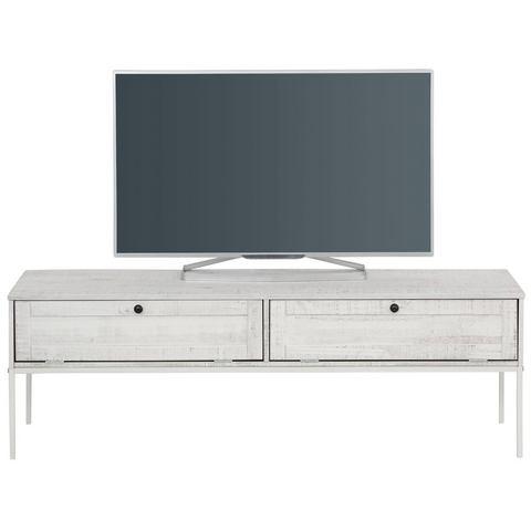 Home Affaire tv-meubel Freya, met 2 kleppen, metalen handgrepen, van massief hout, breedte 140 cm