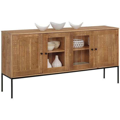 Home Affaire dressoir Freya, 2 houten deuren, 2 deuren met glasinzet, handgrepen, hout, 165 cm br.