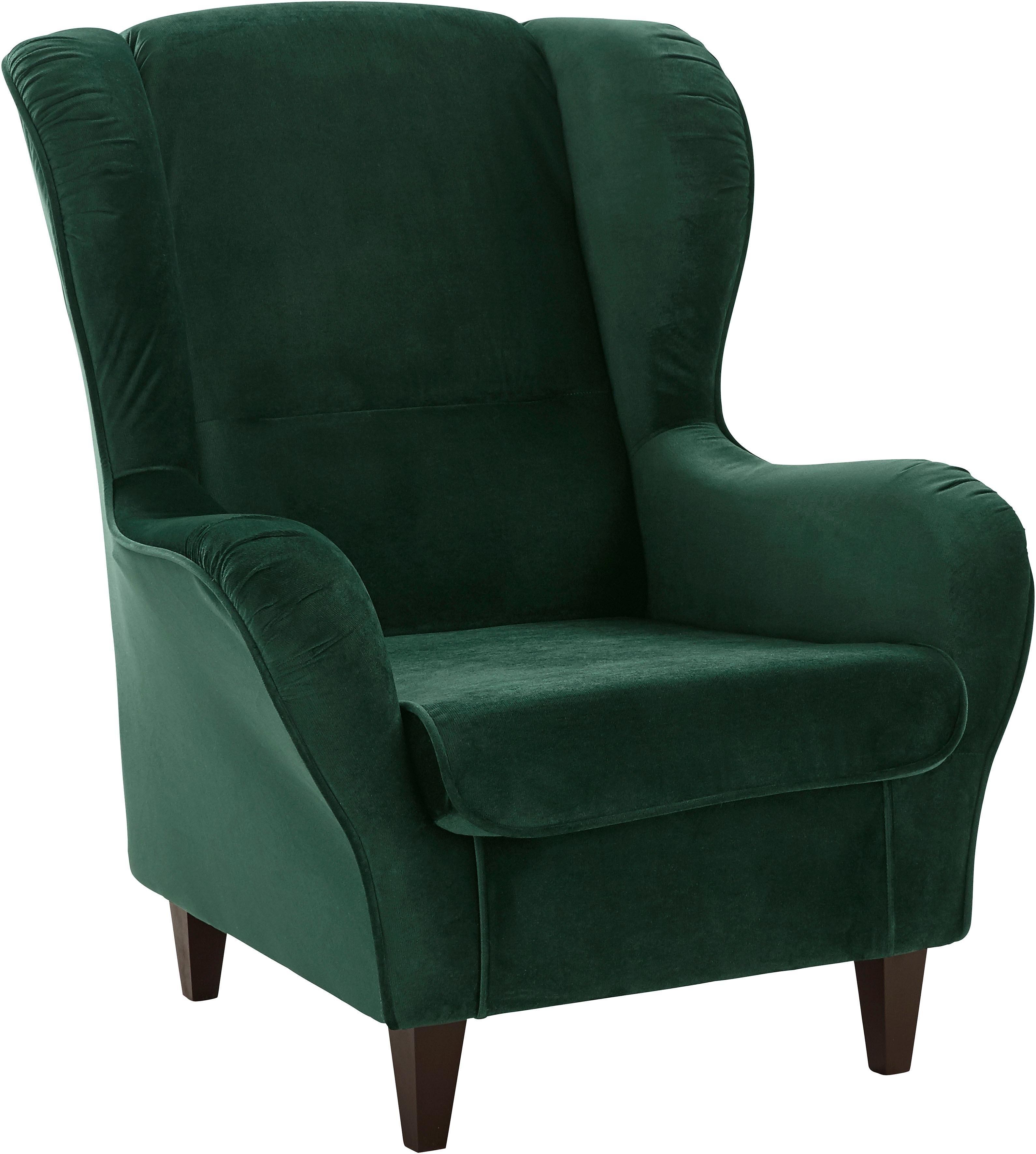 Inosign fauteuil met bekleding in fluweel-look, met en zonder hocker nu online kopen bij OTTO