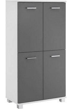 schildmeyer halfhoge kast lumo breedte 60 cm, met 4 deuren  metalen handgrepen, draairichting deur naar keuze links of rechts grijs
