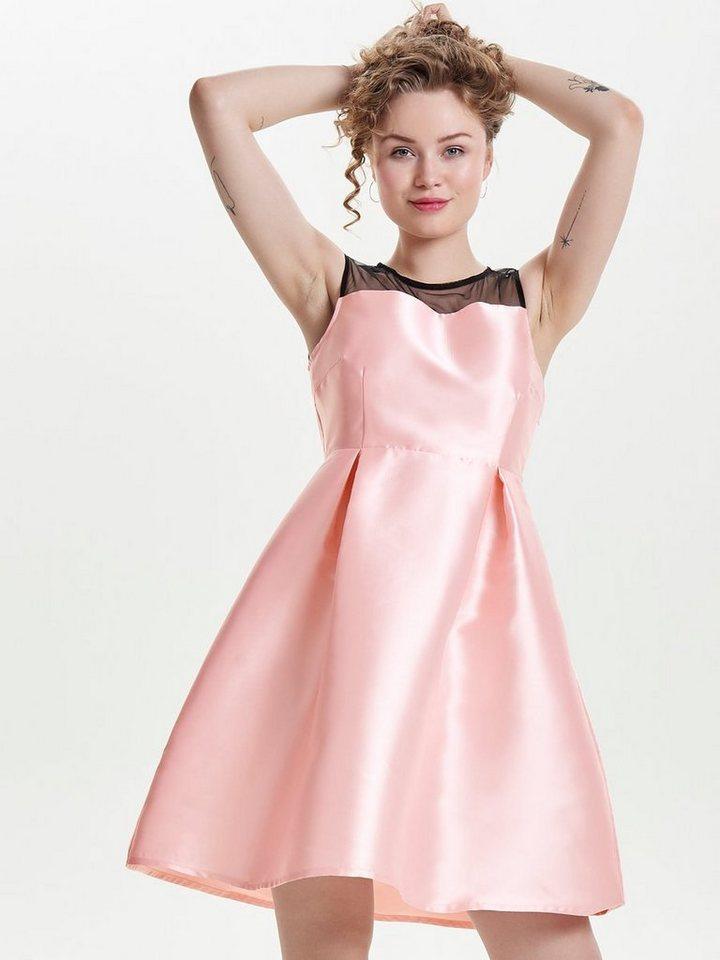 ONLY Mesh Mouwloze jurk roze