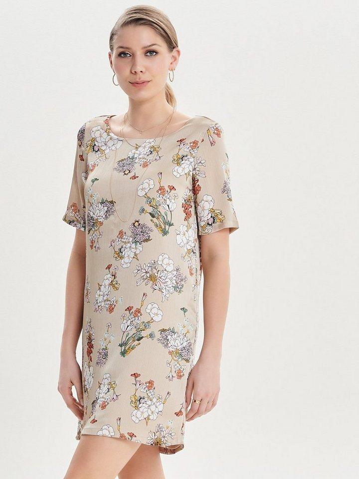 ONLY Bloemenprint jurk met korte mouwen grijs