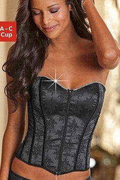 lascana prachtige bustier met straselement en jacquard met een zijdeachtige glans zwart