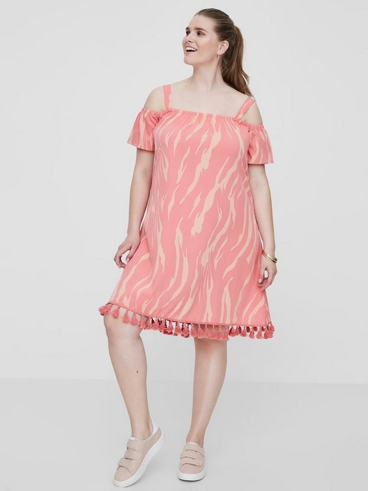 Junarose Gedessineerde jurk roze