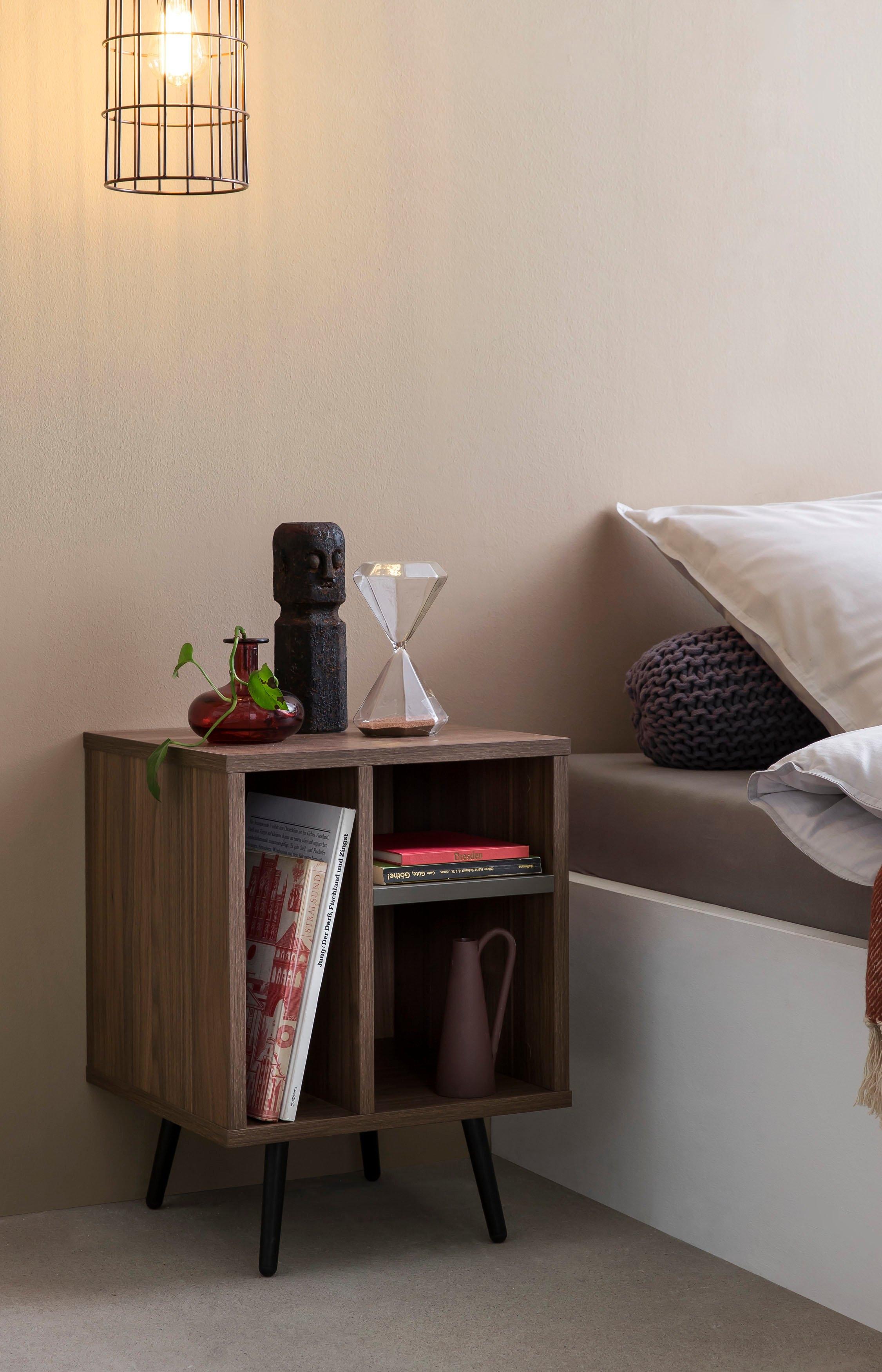 SalesFever nachtkastje in moderne kleurencombinatie van walnoot en grijs - gratis ruilen op otto.nl