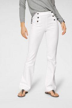 arizona wijd uitlopende jeans »flare - met logoknopen voor« wit