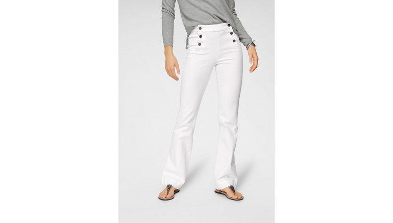 Arizona wijd uitlopende jeans Flare – voor met logoknopen High Waist