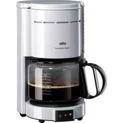 braun koffiezetapparaat aromaster classic kf 47-1, met glazen kan, wit wit