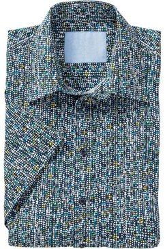 marco donati overhemd met korte mouwen en stippenmotief blauw