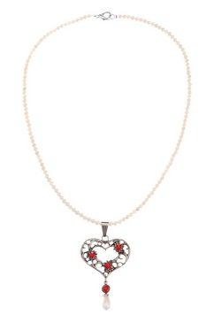 kabe leder-accessoires folklore-ketting met kralenhanger rood
