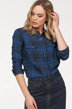 lee geruite blouse blauw