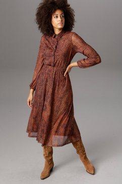 aniston casual midi-jurk bruin