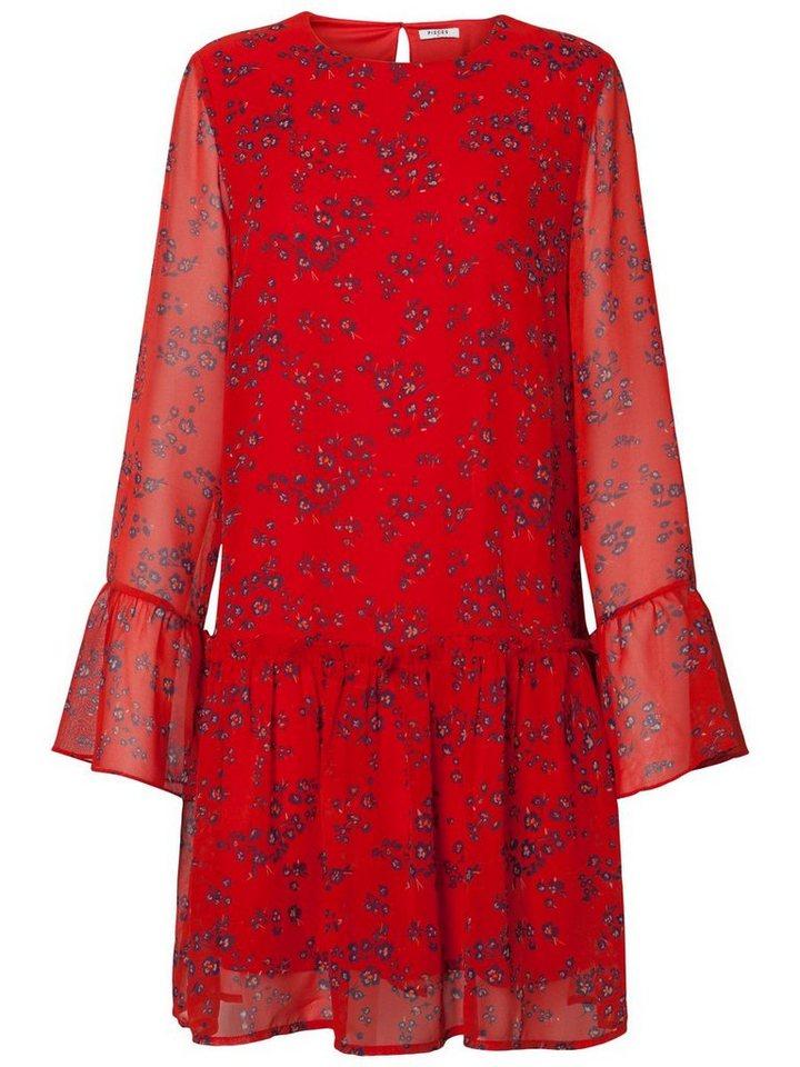 Pieces print lange mouwen jurk rood