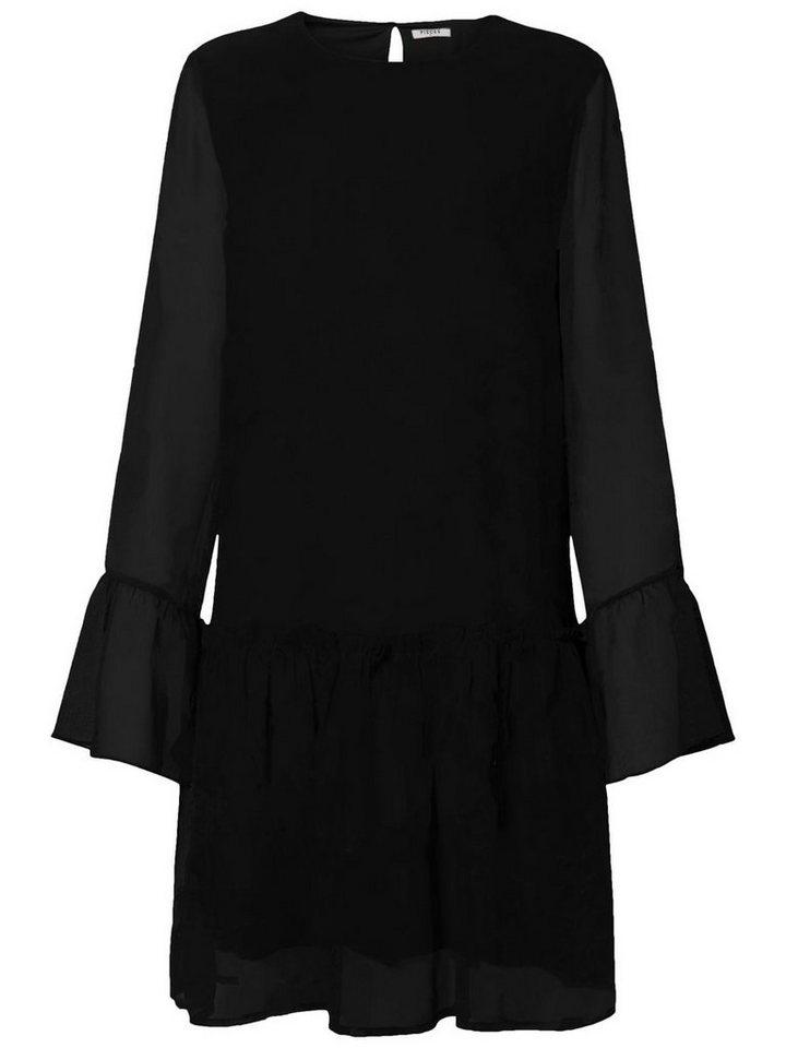 Pieces print lange mouwen jurk zwart
