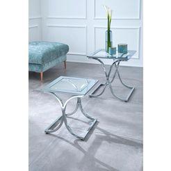 guido maria kretschmer homeliving bijpassend tafeltje ballum met chic metalen frame en glasplaat zilver