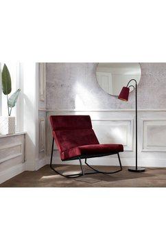 guido maria kretschmer homeliving schommelstoel soel met modern metalen frame en zachte fluwelen overtrekstof rood