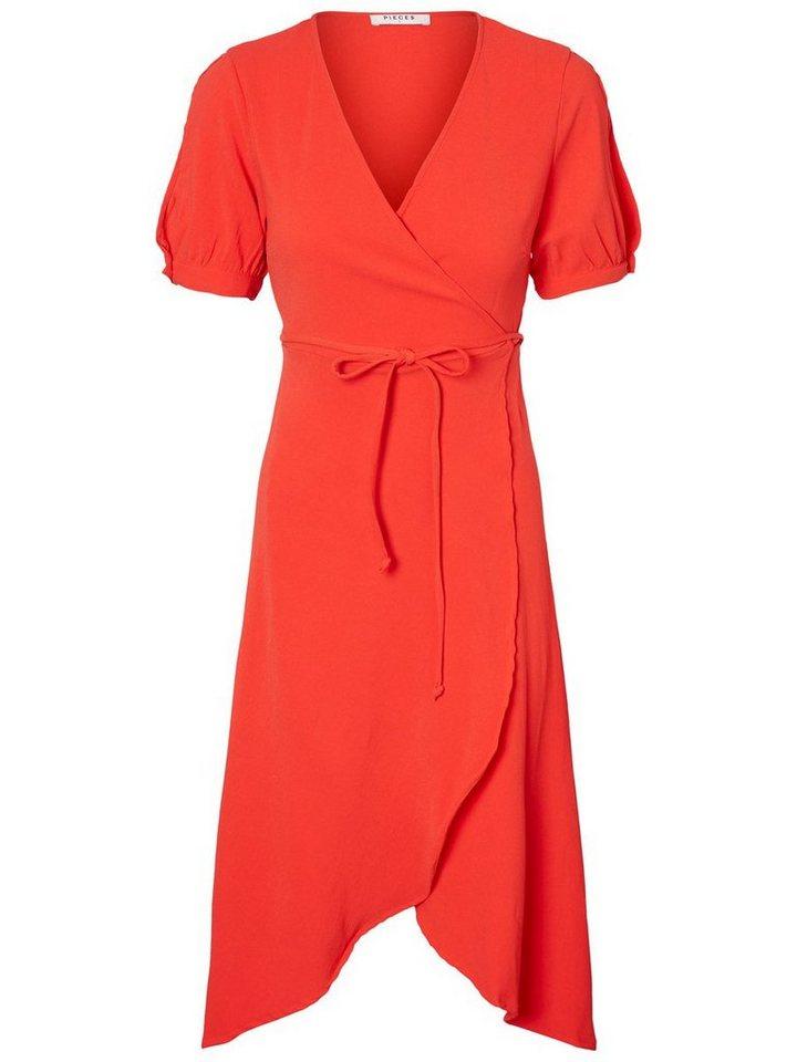 Pieces Shortsleeve wrap jurk rood