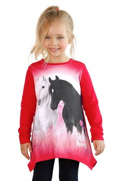miss melody shirt in puntmodel met mooi paardenmotief rood