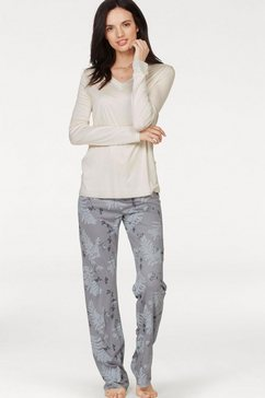 huber pyjama »northern lights« met bladerprint beige