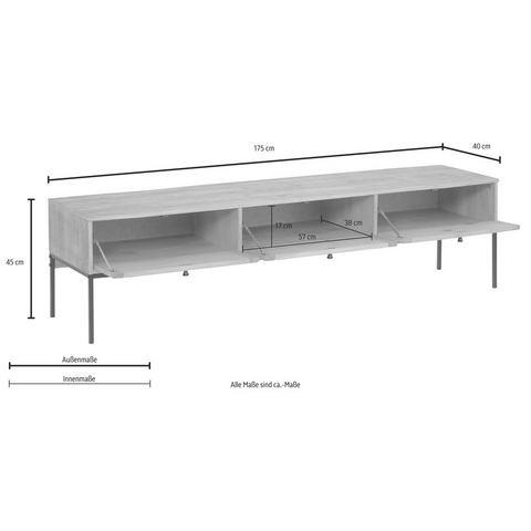 Home Affaire tv-meubel Freya, met 3 kleppen, metalen handgrepen, van massief hout, breedte 175 cm