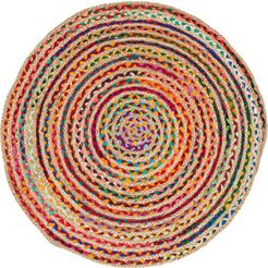 barbara becker vloerkleed ethno platweefsel, met de hand gevlochten, oe ca. 80 cm, materiaal: jute  gerecycled katoen, woonkamer multicolor