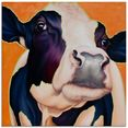 artland print op glas koe roze (1 stuk) oranje
