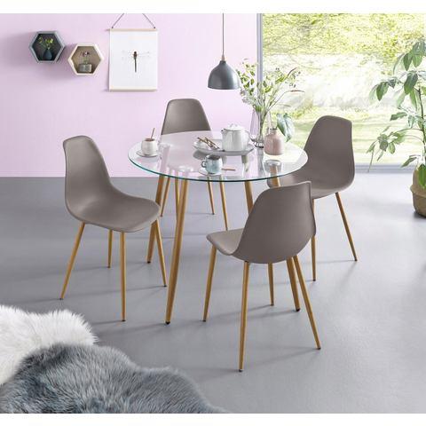 Eethoek, ronde glazen tafel met 4 stoelen (kunststof kuip)