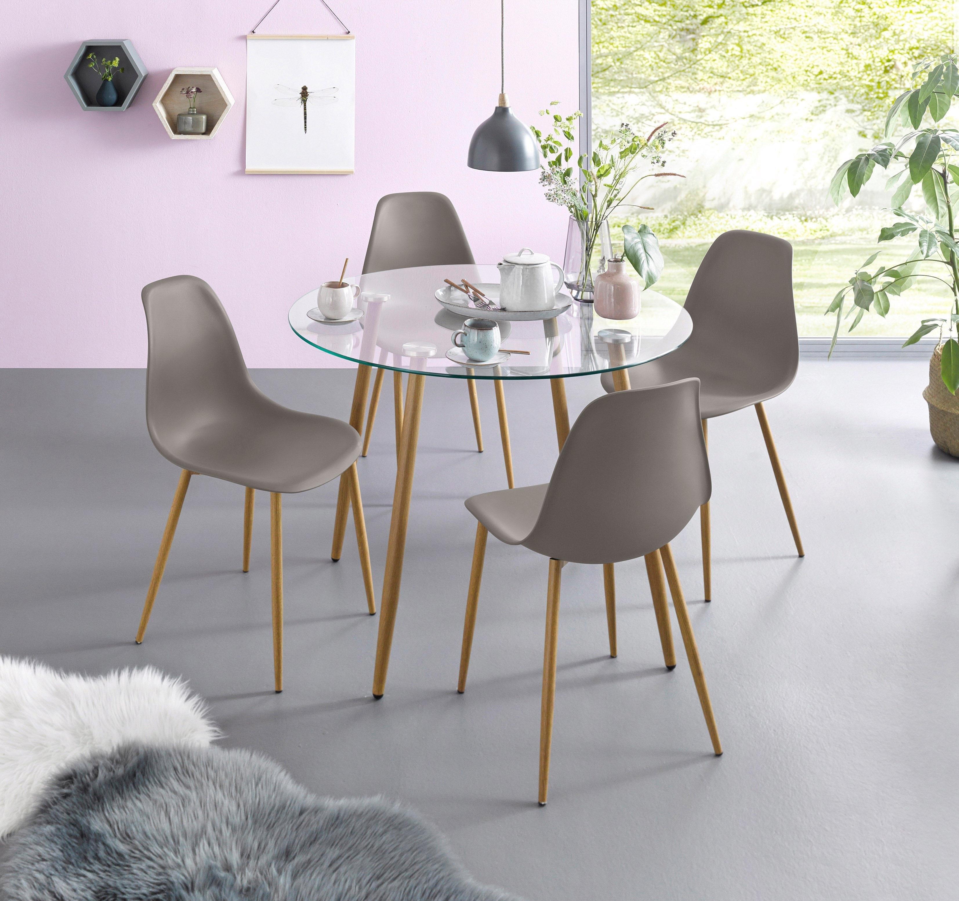 Verwonderlijk Eethoek, ronde glazen tafel met 4 stoelen (kunststof kuip) in de TR-32