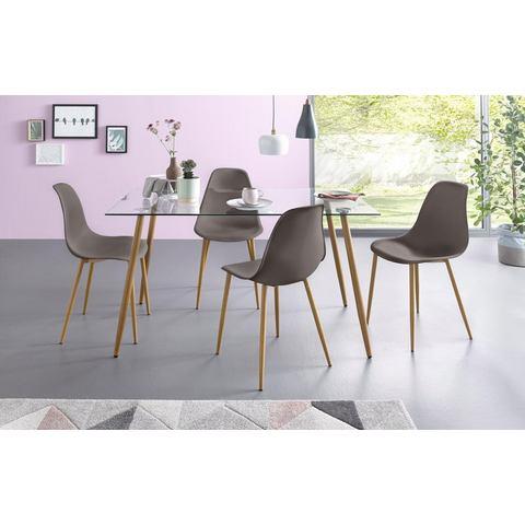 Eethoek, hoekige glazen tafel met 4 stoelen (kunststof kuip)