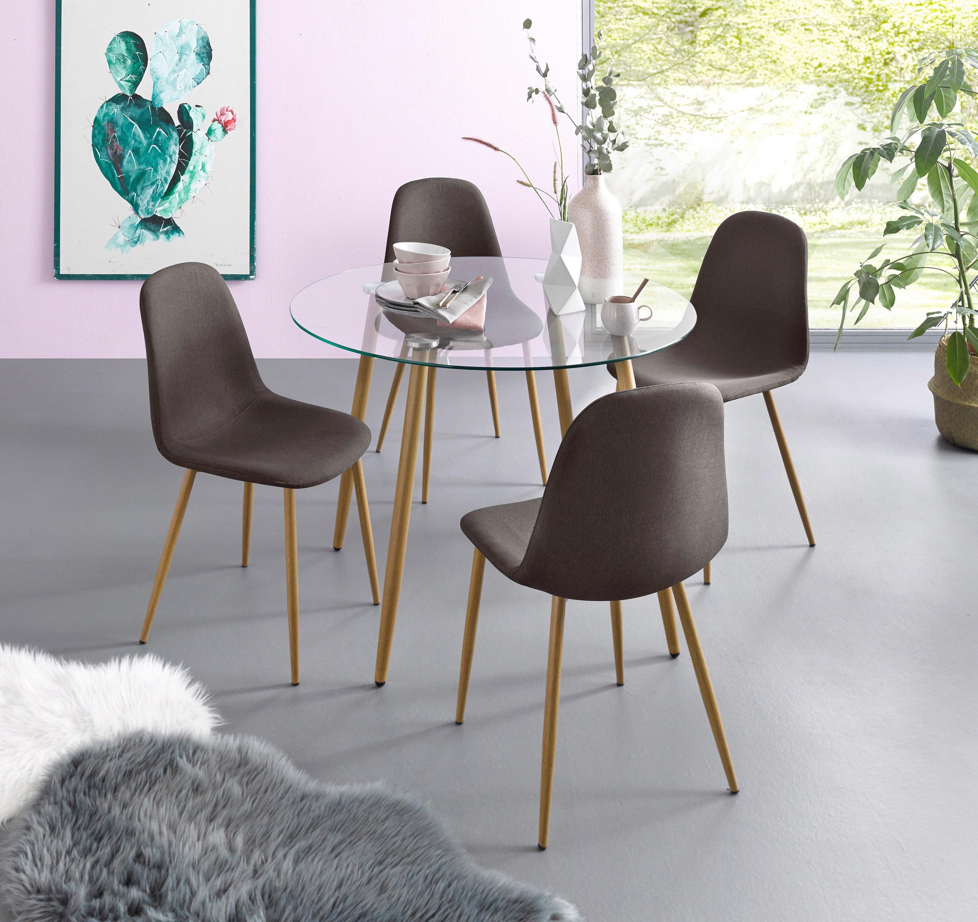 Verbazingwekkend Eethoek, ronde glazen tafel met 4 stoelen (weefstof) in de online EZ-36