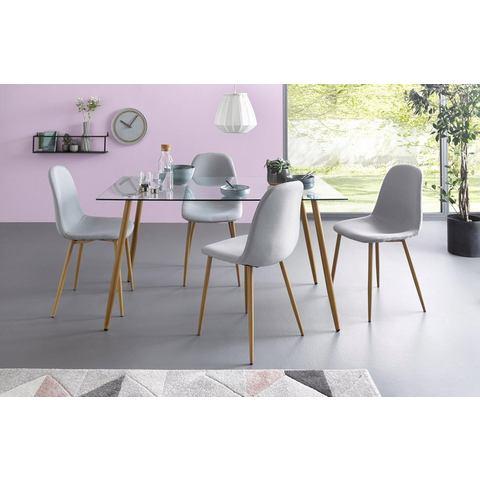 Eethoek, hoekige glazen tafel met 4 stoelen (weefstof)