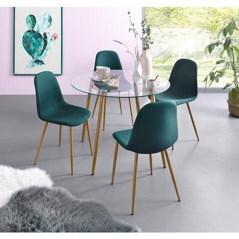 Eethoek, ronde glazen tafel met 4 stoelen (weefstof)