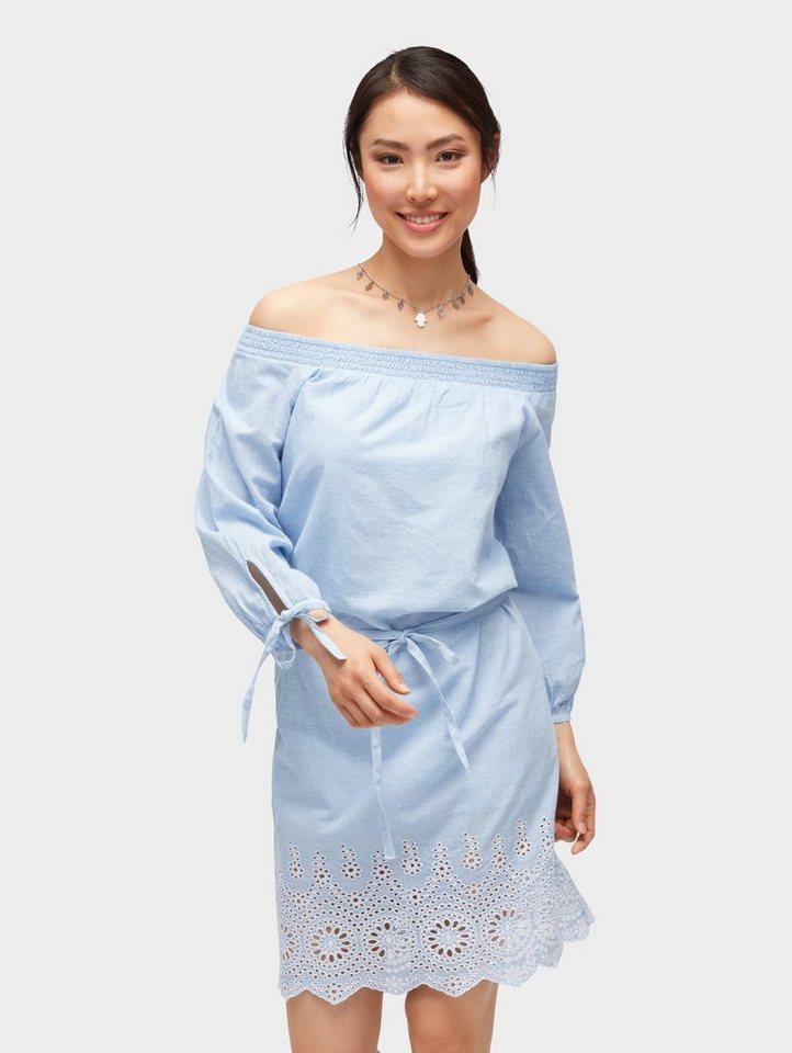 Tom Tailor zomerjurk gestreepte jurk met ajourborduursel blauw