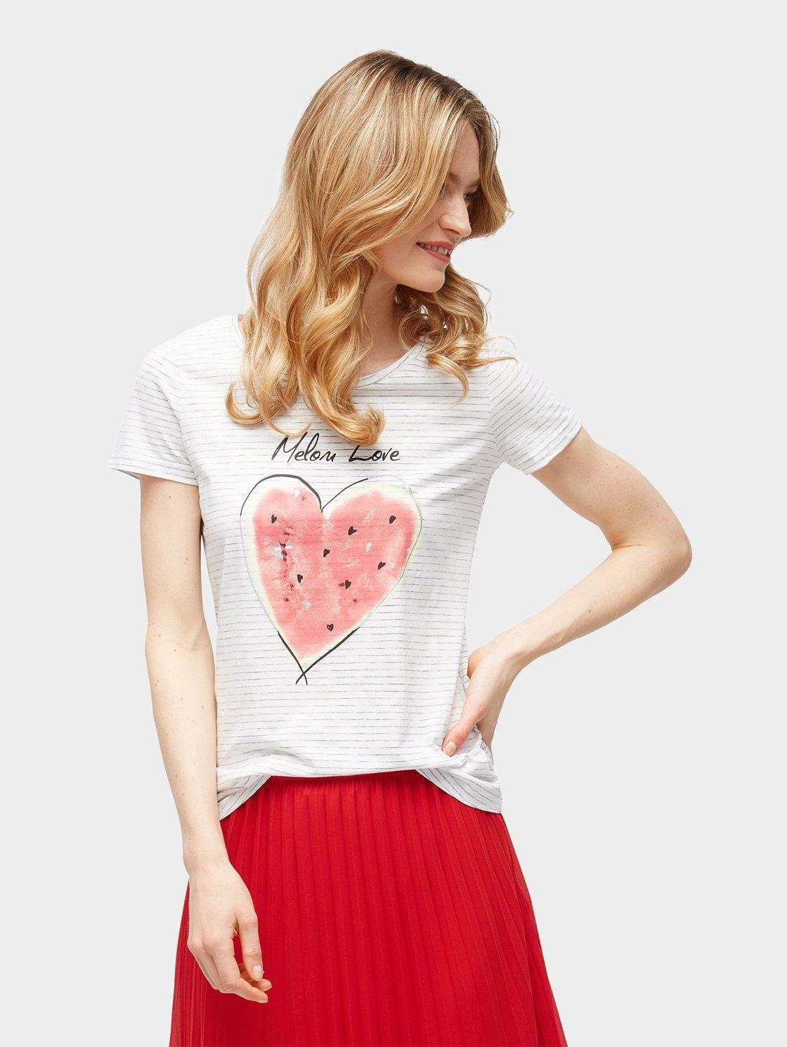 TOM TAILOR T-shirt »Gestreiftes T-Shirt mit Früchte-Print« bij OTTO online kopen