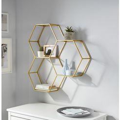 leonique wandrek lenia decoratief rek, wanddecoratie, van metaal, bestaand uit drie zeshoekige elementen goud