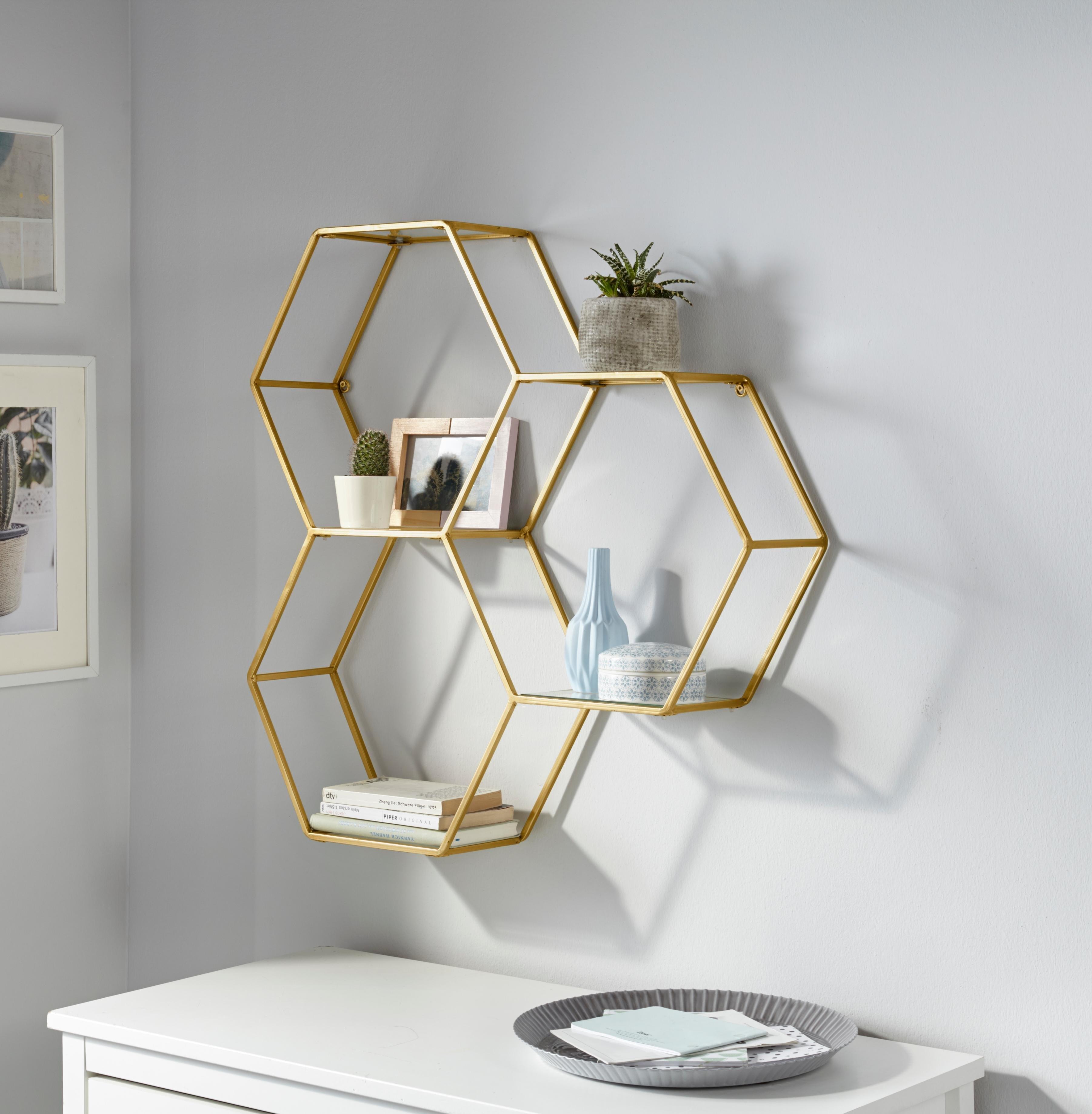 Leonique Wandrek Lenia Decoratief rek, wanddecoratie, van metaal, bestaand uit drie zeshoekige elementen nu online kopen bij OTTO