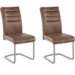 hela vrijdragende stoel paula met echt rvs frame, 2 of 4 stuks (set) bruin