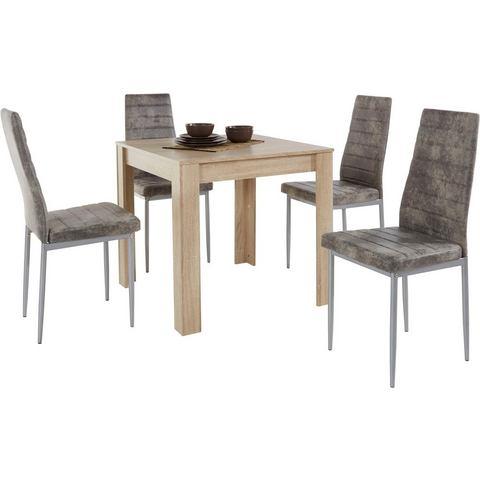 Eettafel Lynn, breedte 80 cm en 4x stoel Kate