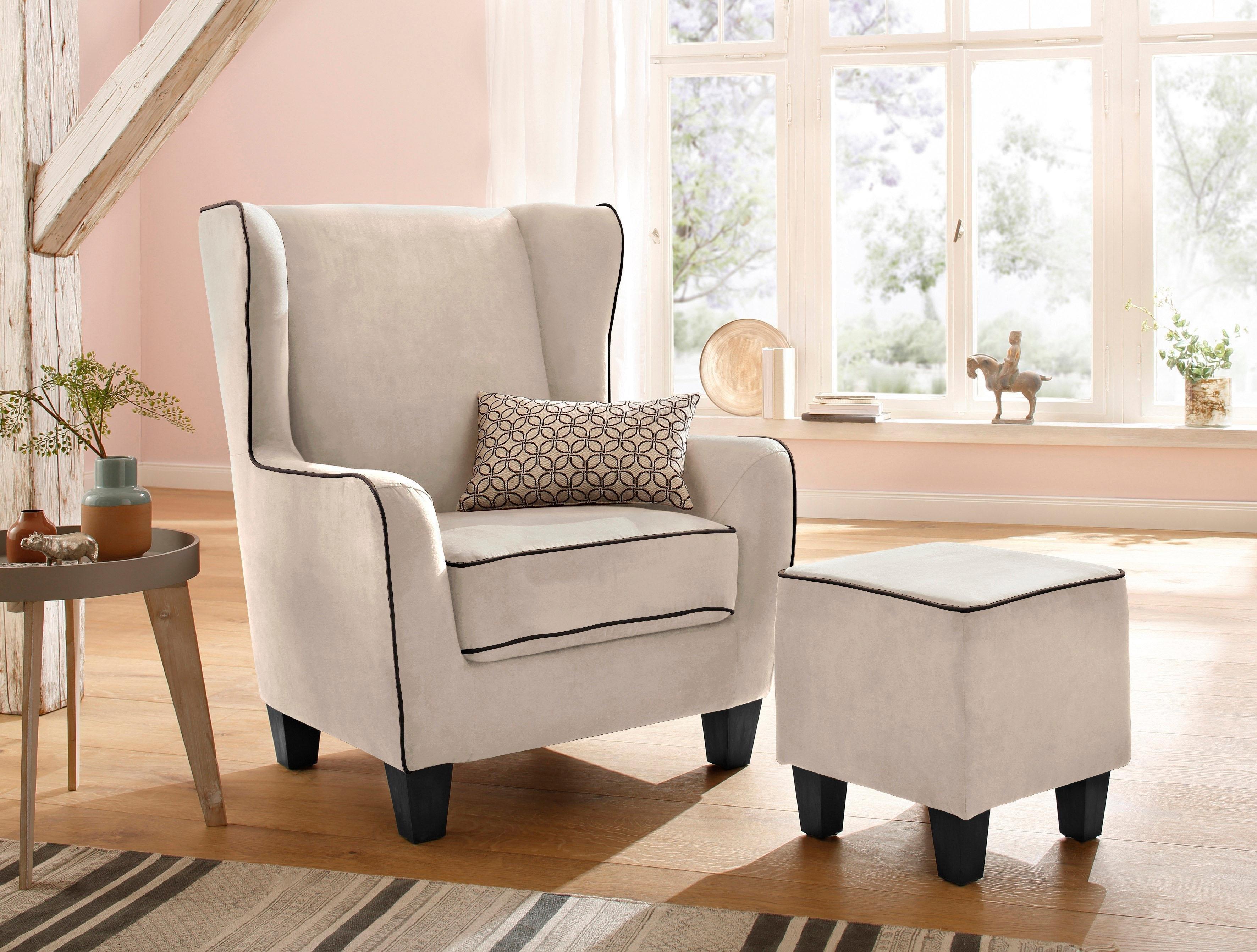 Home Affaire fauteuil »Ginger« met hocker als set, opstaande naad, binnenvering - verschillende betaalmethodes