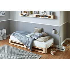 atlantic home collection palletbed van massief vuren, naar keuze met matras beige