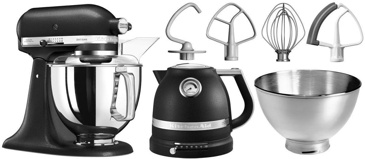 KitchenAid keukenmachine Artisan 5KSM175PSEBK met gratis waterkoker, 2e kom, flexi-garde, 300 W - gratis ruilen op otto.nl