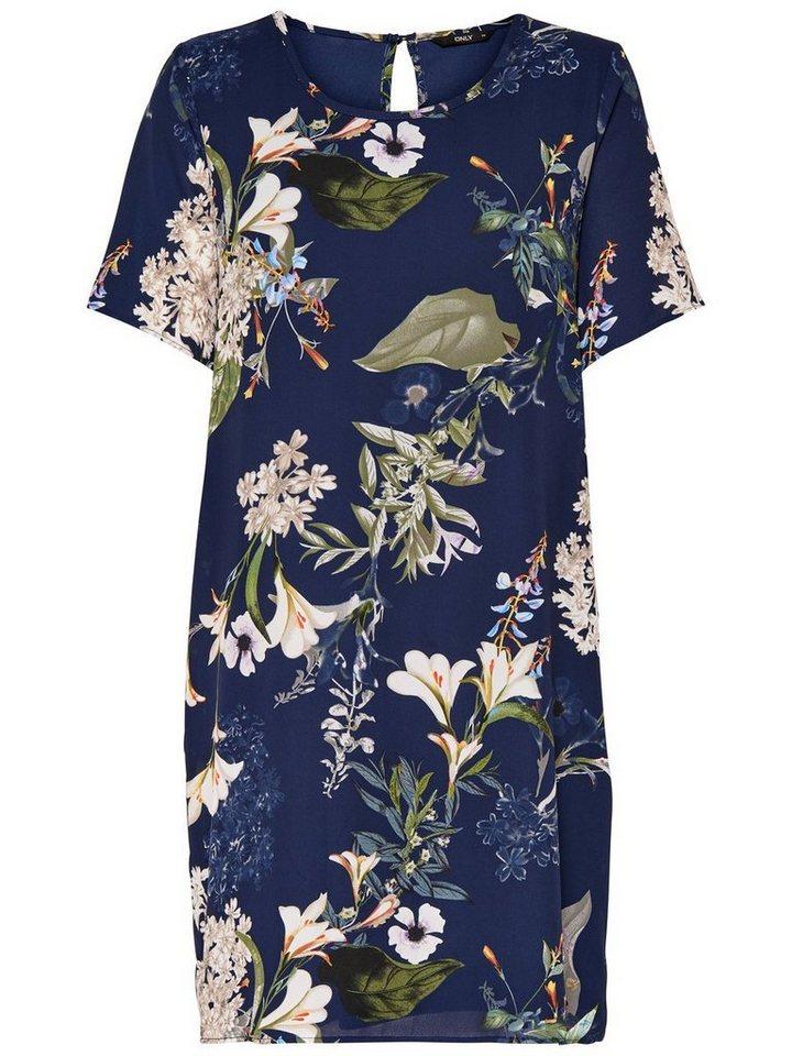 ONLY Bloemenprint jurk blauw