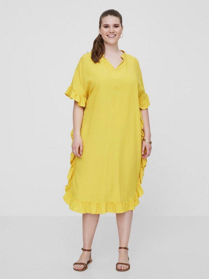 Junarose Vrouwelijke ruche jurk geel