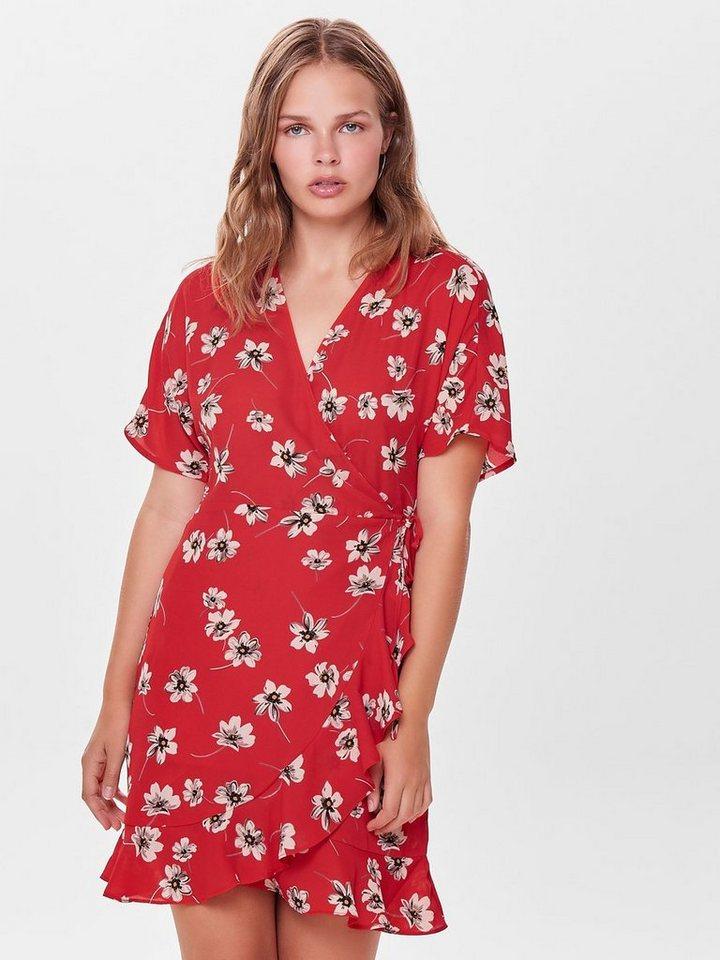 ONLY Wikkel jurk met korte mouwen rood
