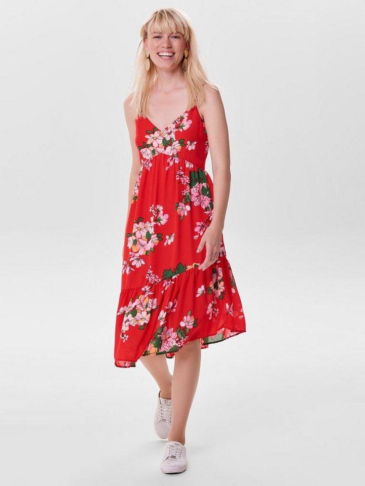 ONLY Asymmetrische Mouwloze jurk rood