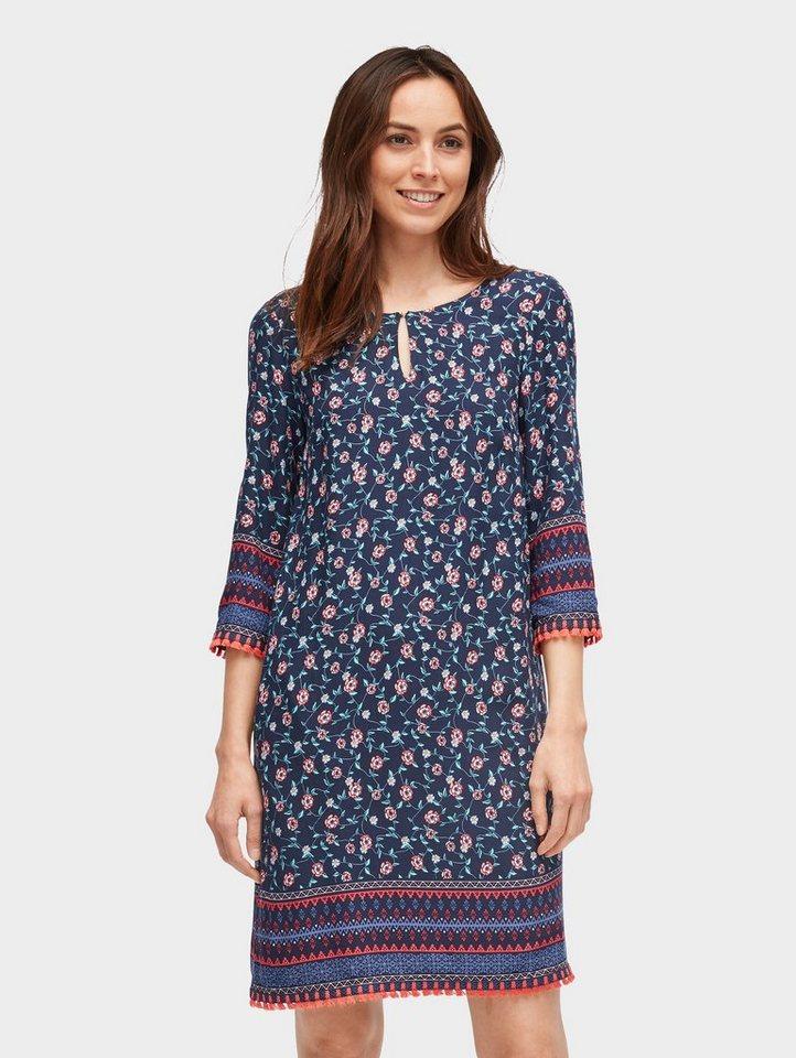 Tom Tailor blousejurk Tunika-Kleid mit floralem Muster blauw