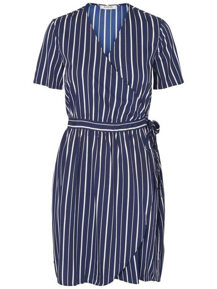 Pieces Gestreepte korte mouw jurk blauw