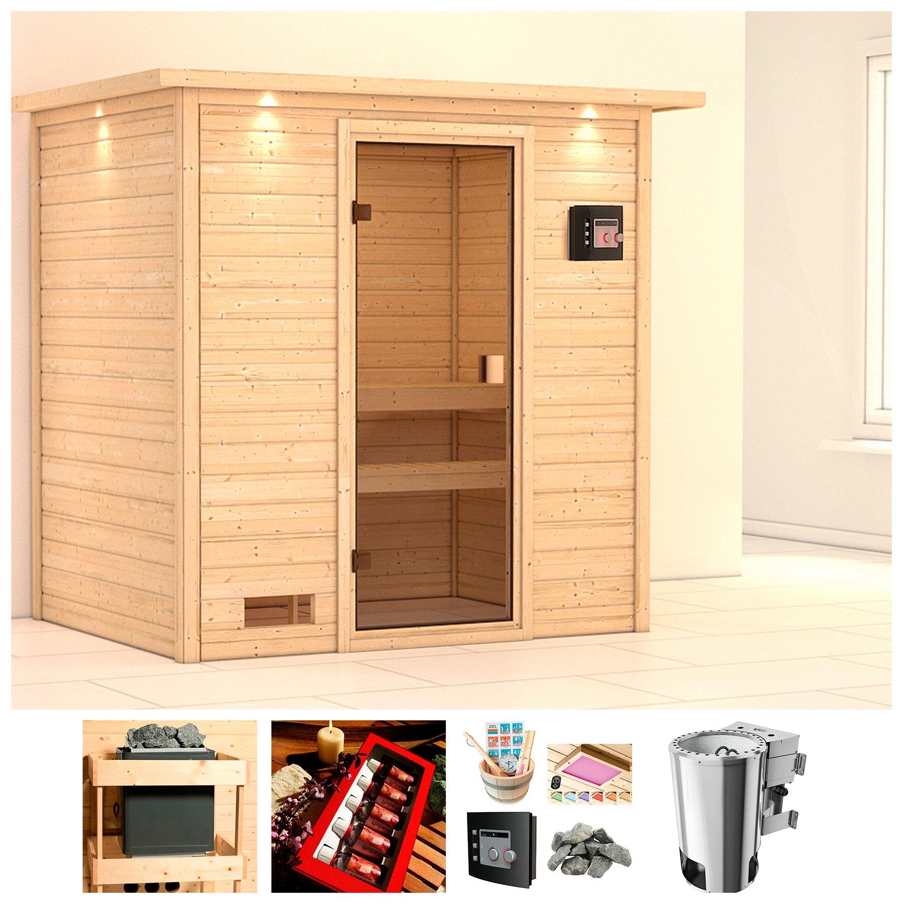 KONIFERA sauna »Erica«, 224x160x202 cm, 3,6 kW Plug & Play bio-kachel met ext. bediening bij OTTO online kopen