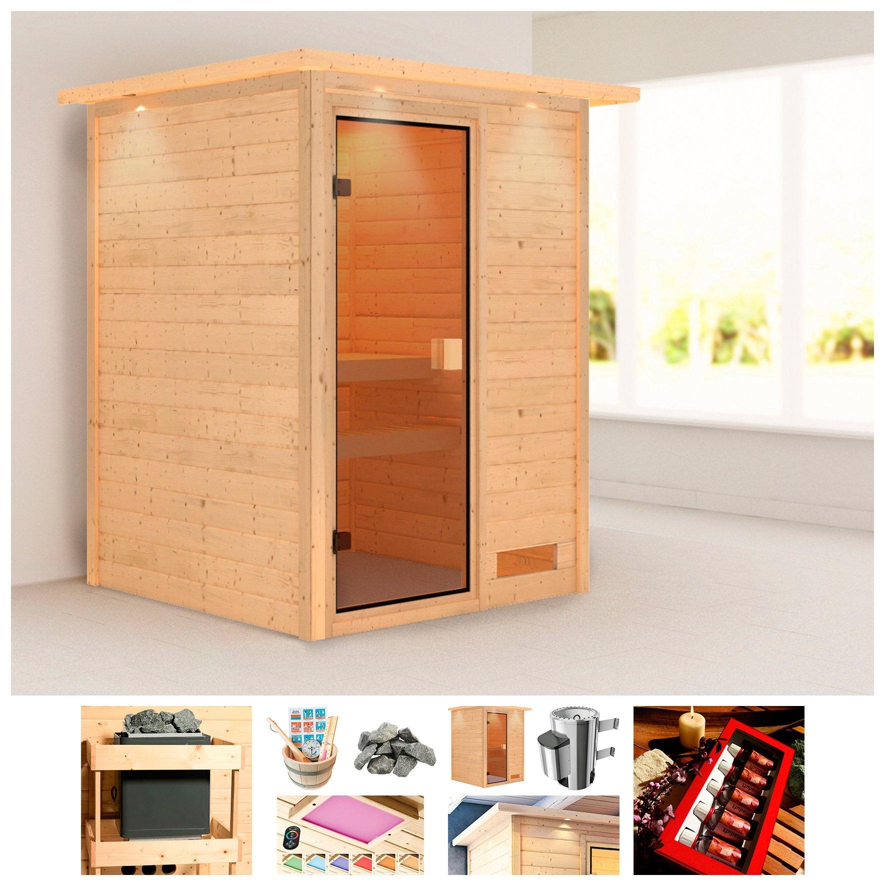 KONIFERA sauna »Erica«, 174x160x202 cm, 3,6 kW Plug & Play kachel met int. bediening nu online bestellen