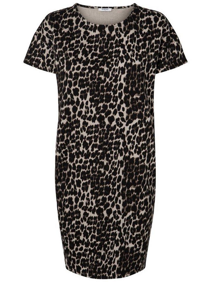 Pieces Luipaardprint sweat jurk zwart